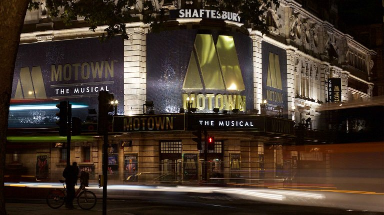 Motown at the Shaftesbury Theatre, London - front-of-house at night