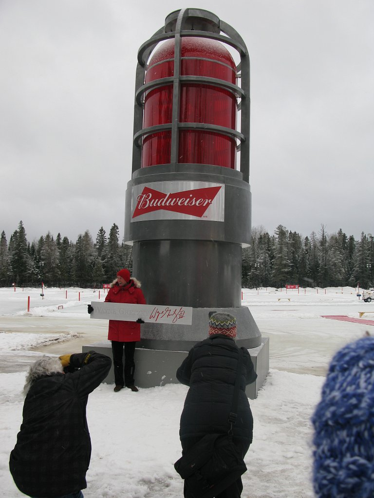 NHL legend Wayne Gretzky with the Budweiser goal light at the World Pond Hockey Championships in Plaster Rock, Canada