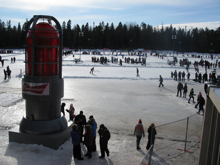 The Budweiser goal light at the World Pond Hockey Championships in Plaster Rock, Canada