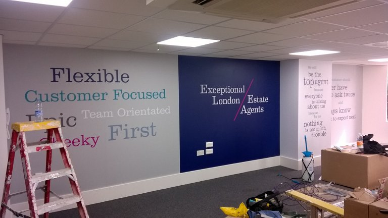 Wall graphics installed at Dexters Pimlico, London