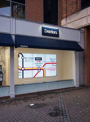 Bespoke digital wall display at Dexters, Kingston