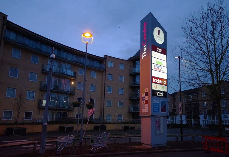 One of the large monoliths with new LED lighting and branding at The Centre, Feltham