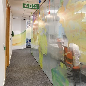 Coloured vinyl applied to glass partitioning