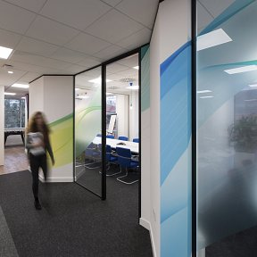 Coloured wave design digital prints across the wall and glass partitioning