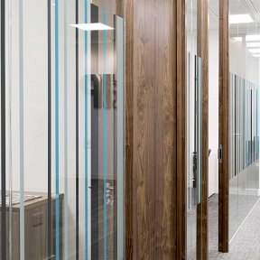 Multicoloured barcode vinyl on glass partitioning