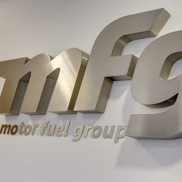 Built-up stainless steel letters for Motor Fuel Group's reception