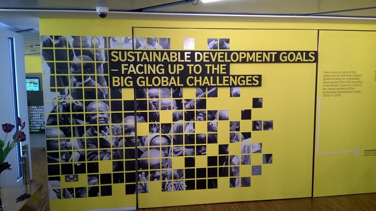 Sustainable Development Goals display wall