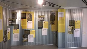 Corrugated roofing steel wall display
